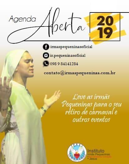 Agenda aberta das Irmãs Pequeninas em 2019