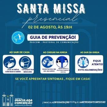 Missa presencial - Paróquia Imaculada Conceição