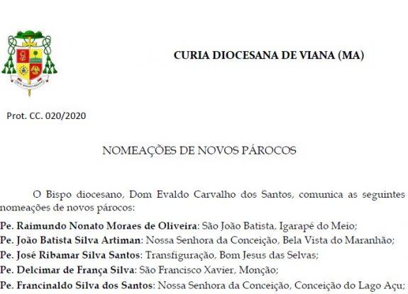 Comunicado oficial: Nomeação de Novos Párocos