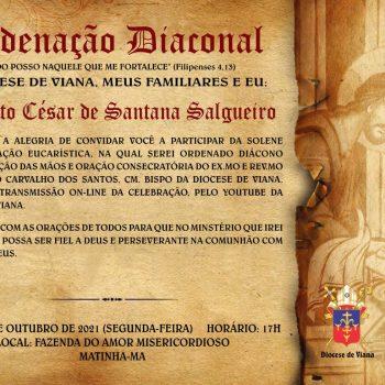 Convite de Ordenação Diaconal Augusto César de Santana Salgueiro